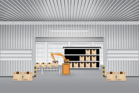 Robot working with conveyor belt inside factory. Stock Illustratie