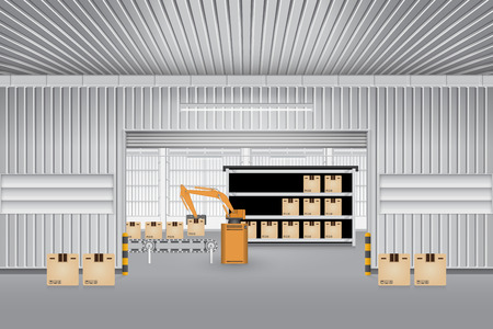 industrial belt: Robot working with conveyor belt inside factory. Illustration