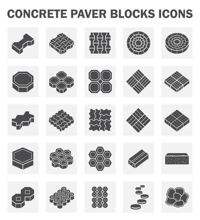 콘크리트 포장 재료 블록 세트 아이콘.