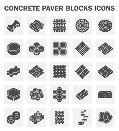 black block: Bloque extendedora de hormigón iconos conjuntos. Vectores