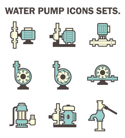 물 펌프 세트 아이콘.