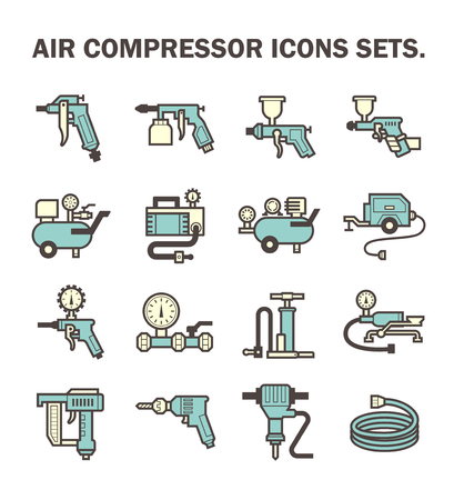 air power: Air compressor icons sets. Illustration
