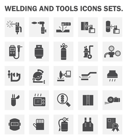 welding: Welding and tools icons sets. Illustration