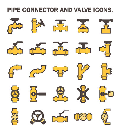 Pijp connector en ventiel iconen.