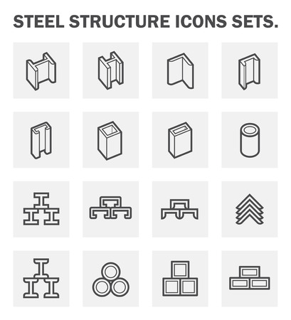 metal structure: Steel structure icons sets.