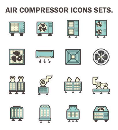 fresh air: Compresor de aire de los iconos conjuntos.