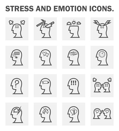 headache: Stress and emotion icons sets.