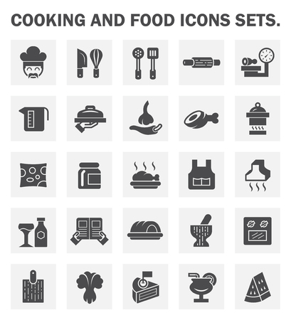 barbecued: Cooking and food icons sets.