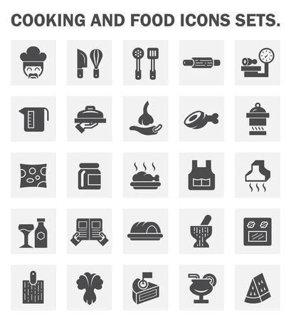 Kochen und Essen Symbole setzt.