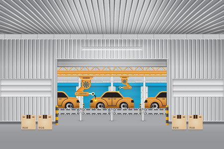 car factory: Robots working with auto parts in factory. Illustration