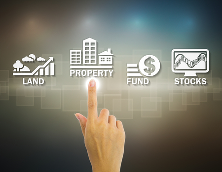 property management: Hand and investment sign with dark background.