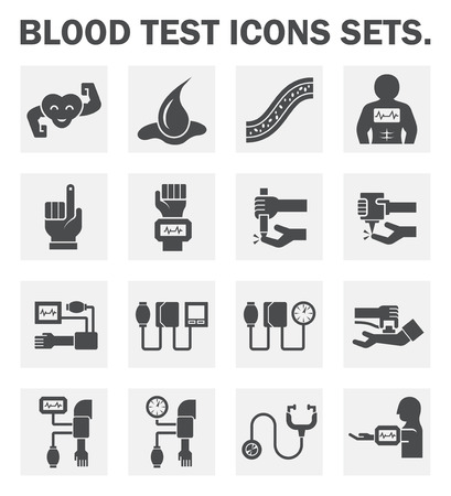 blood pressure monitor: Blood test and tool icons sets. Illustration
