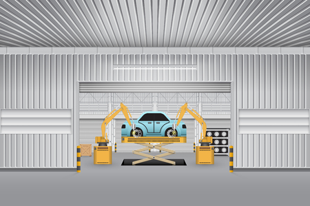 auto parts: Robots working with auto parts in factory. Illustration