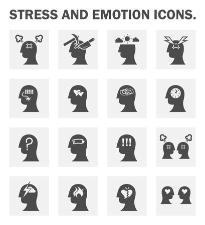 cerebro blanco y negro: El estrés y la emoción de los iconos de conjuntos. Vectores