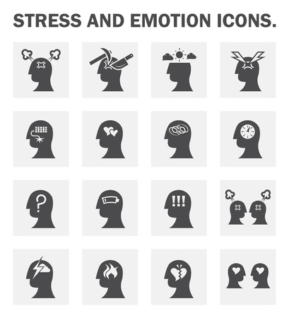 stressed: Stress and emotion icons sets.