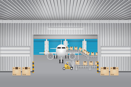 goods station: Forklift transfer carton into plane in factory. Illustration