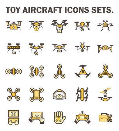 Toy aircraft icons sets. Vektorové ilustrace
