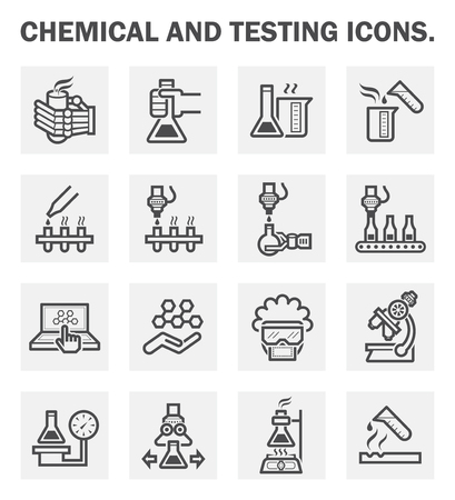science lab: Chemical and testing icons sets.