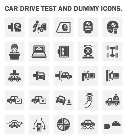 the test: Car drive test and dummy icons sets.