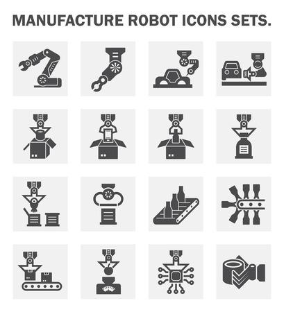 mecanica industrial: Fabricación iconos robot conjuntos.