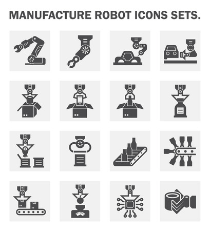 manufacturing occupation: Manufacture robot icons sets.