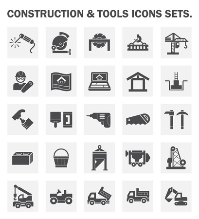 house icon: Construction and tools icons. Illustration
