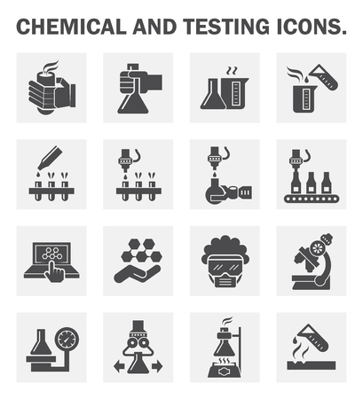 test glass: Chemical and testing icons sets.