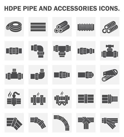 plumbing tools: HDPE pipe icons sets.
