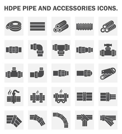 cañerías: Tubos de HDPE iconos conjuntos. Vectores