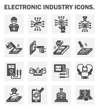 work on computer: Electronics industry icons.