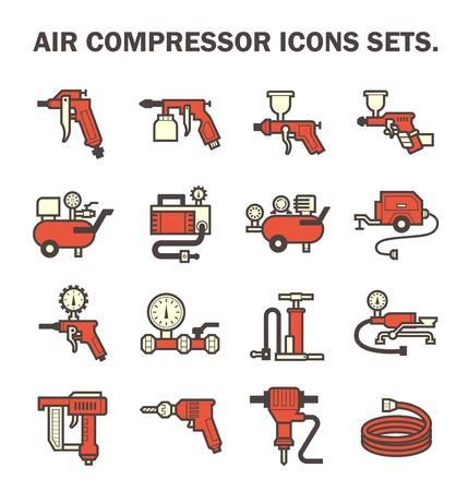 air compressor: Air compressor icons sets. Illustration