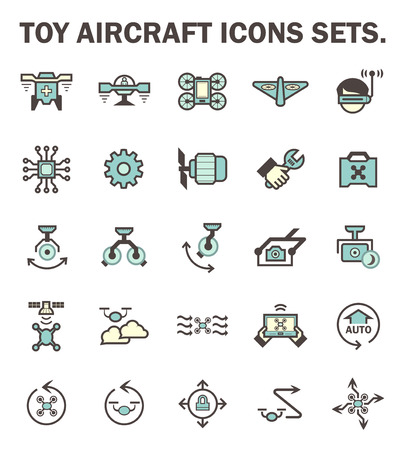 unmanned: Toy aircraft icons sets. Illustration