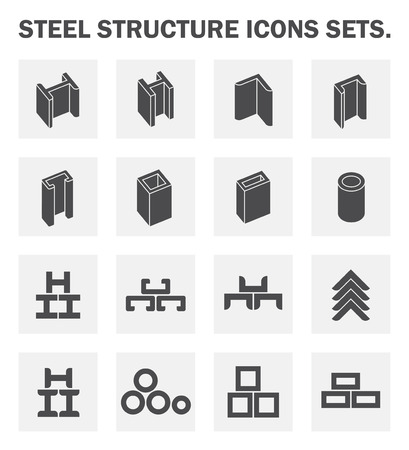 siderurgia: Estructura de acero iconos conjuntos.