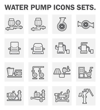 sewage system: Water pump icons sets.