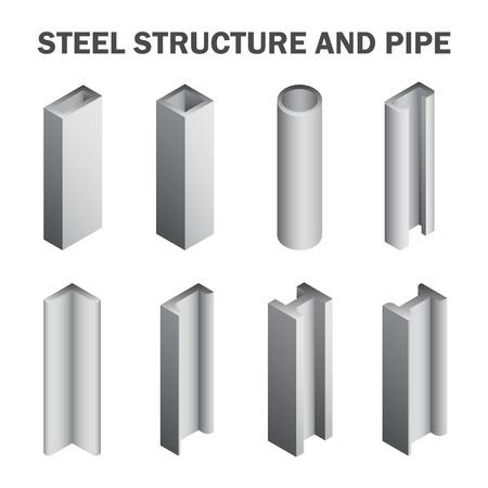 강철 구조와 파이프 흰색 배경에 고립입니다. 일러스트