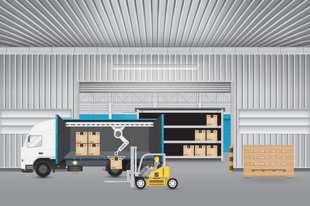 carretillas almacen: Carretilla elevadora que trabaja con el carro y el cartón con el fondo de la fábrica.