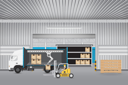 warehouse interior: Forklift working with truck and carton with factory background.