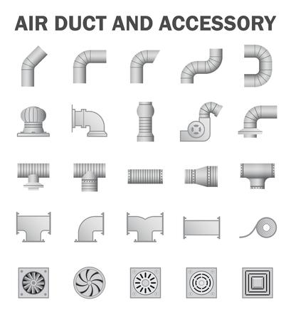 duct: Conducto de aire y accesorio aislados sobre fondo blanco. Vectores