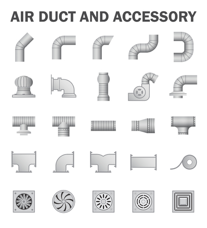 Air duct and accessory isolated on white background. Stock Illustratie
