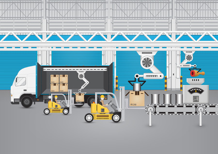 Vorkheftruck die met vrachtwagen en karton in fabriek werkt. Vector Illustratie