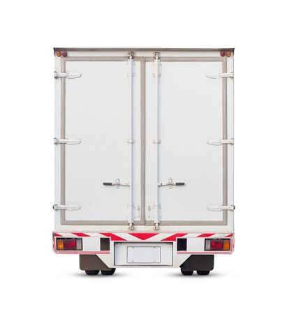 Cargo container and truck isolated on white, clipping path include in file.