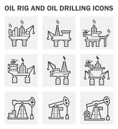 the drill: Plataforma petrolera y de perforaci�n de petr�leo iconos conjuntos. Vectores
