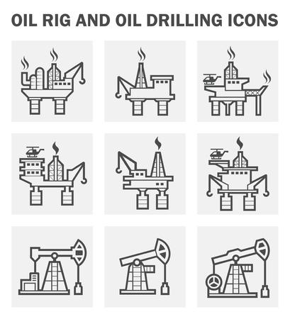 taladro: Plataforma petrolera y de perforación de petróleo iconos conjuntos. Vectores