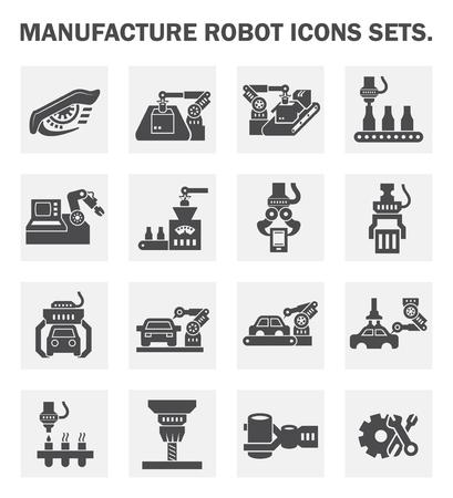 mecanica industrial: Fabricaci�n de robots conjuntos de iconos.
