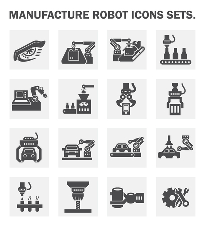 assembly line: Manufacture robot icon sets. Illustration