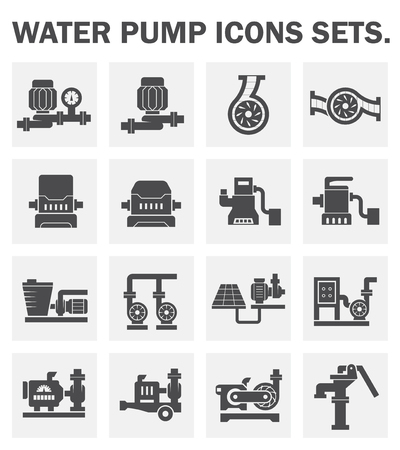 infrastructure: Water pump icons sets.