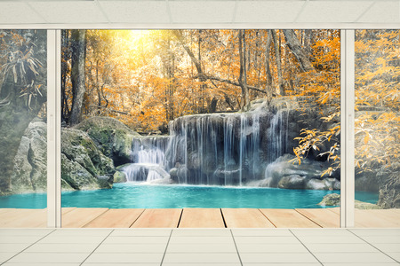 balcony view: Scenery of Waterfall with wood deck.