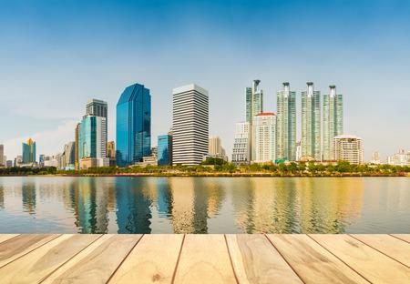 reflect: Panorama of bangkok city reflect in river.