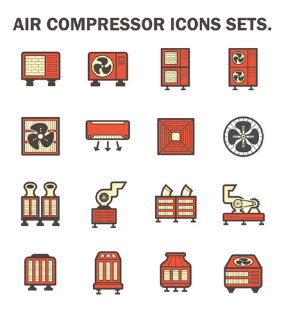 refrigerant: Air compressor icons sets. Illustration