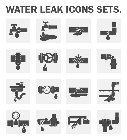 pipe wrench: Water leak icons sets. Illustration